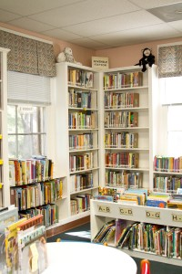 Village Library - Children's section bookshelves