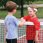Boys Shaking Hands at the Tennis Net