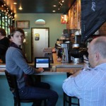 At Troubadour's Coffee, Andy Hagedon, our photographer is hard at work