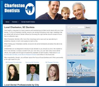 Charleston, SC dentists website screenshot