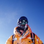 Breathing via oxygen tank on Mount Everest