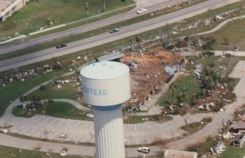 An aerial photo tsaken after Hurricane Andrew