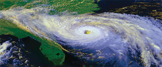 Hurricane Hugo aerial view, 1989