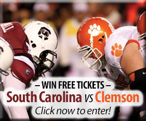 Win Clemson/Carolina Palmetto Bowl Tickets to the 2017 game!