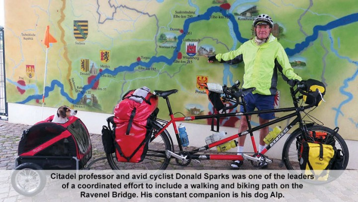 Citadel professor and avid cyclist Donald Sparks was one of the leaders of a coordinated effort to include a walking and biking path on the Ravenel Bridge. His constant companion is his dog Alp.
