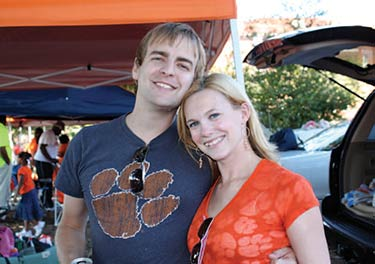 Clemson/Carolina Fans: Angel & Richard Leitner in team colors
