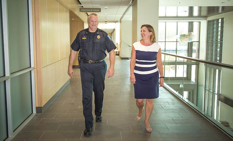 Director of Planning and Development Christiane Farrell (right) and Police Chief Carl Ritchie (left)