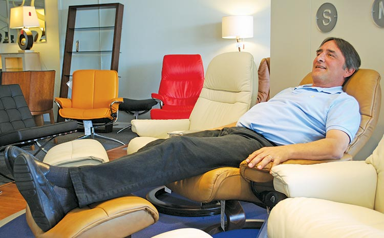 Danco Furniture: Paul Haugaard relaxes in a Stressless recliner