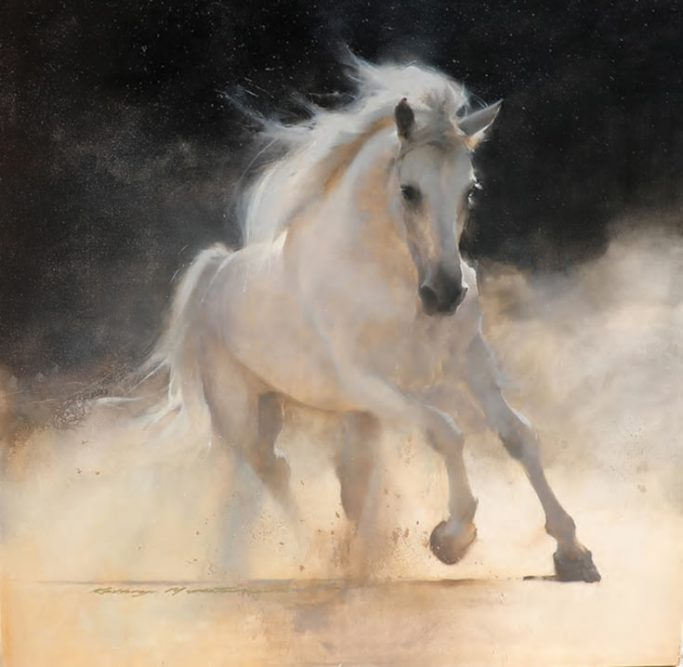 "Kathryn Mapes Turner 's painting, ""Unbridled,"" is a stunning depiction of a wild mustang, inspired by the wild horses that flourish in the West."