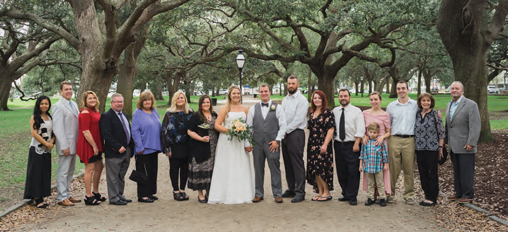 A wedding party at White Point Garden, Charleston Battery.