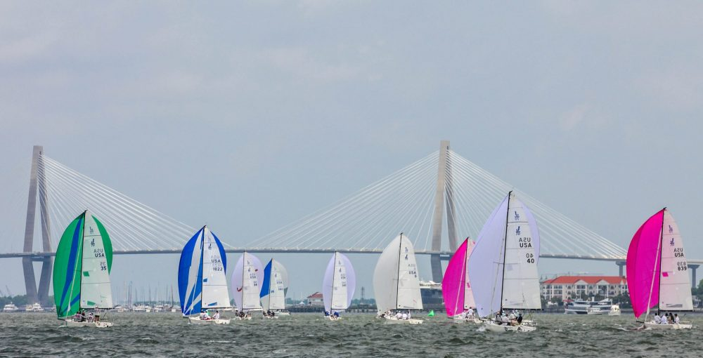 Sailboats in front of the Ravenel Bridge, Charleston, SC. 2018 Sperry Charleston Race Week article