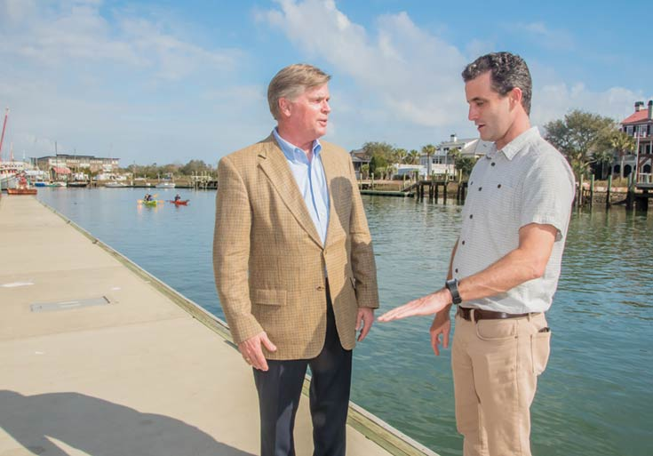 Mount Pleasant Councilman Jim Owens, left, and Andrew Wunderley of Charleston Waterkeeper discuss water quality on Shem Creek.