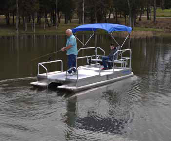Hotwood's Boats pontoon boats, with four-pontoon design