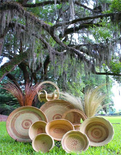 Sweetgrass baskets by Corey Alston, Gullah Woven Photos