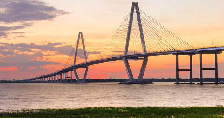The Arthur Ravenel Jr Bridge over the Cooper River in South Carolina