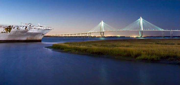 Patriots Point and the Arthur Ravenel Jr Bridge in the background. Mount Pleasant, SC