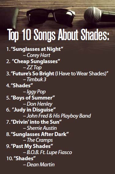 Top 10 Songs About Shades/Sunglasses