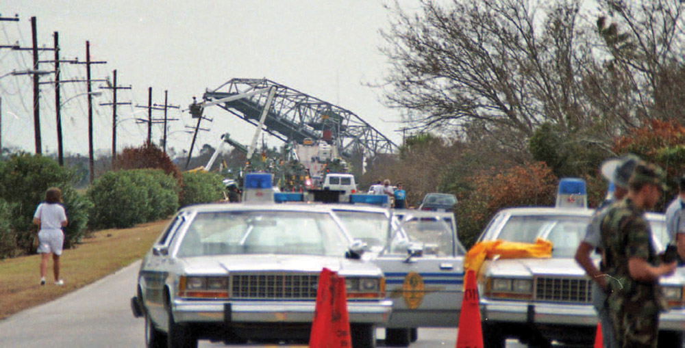 The Ben Sawyer Bridge, which connects Mount Pleasant with Sullivan's Island, was a victim of Hurricane Hugo.