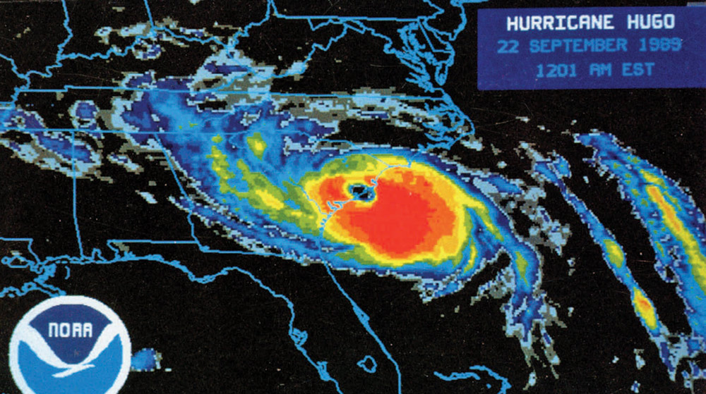Hurricane Hugo radar image