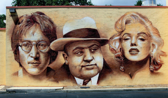 Moe's Southwest Grill, Mount Pleasant, SC mural of John Lennon, Al Capone and Marilyn Monroe