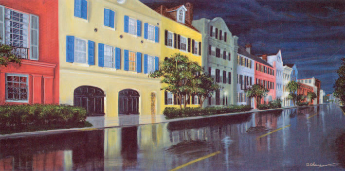 Wando High School art - Rainy Nights painting by Dana Coleman