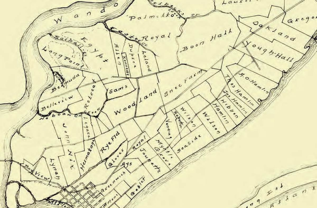 An old hand-drawn map of Mount Pleasant, SC