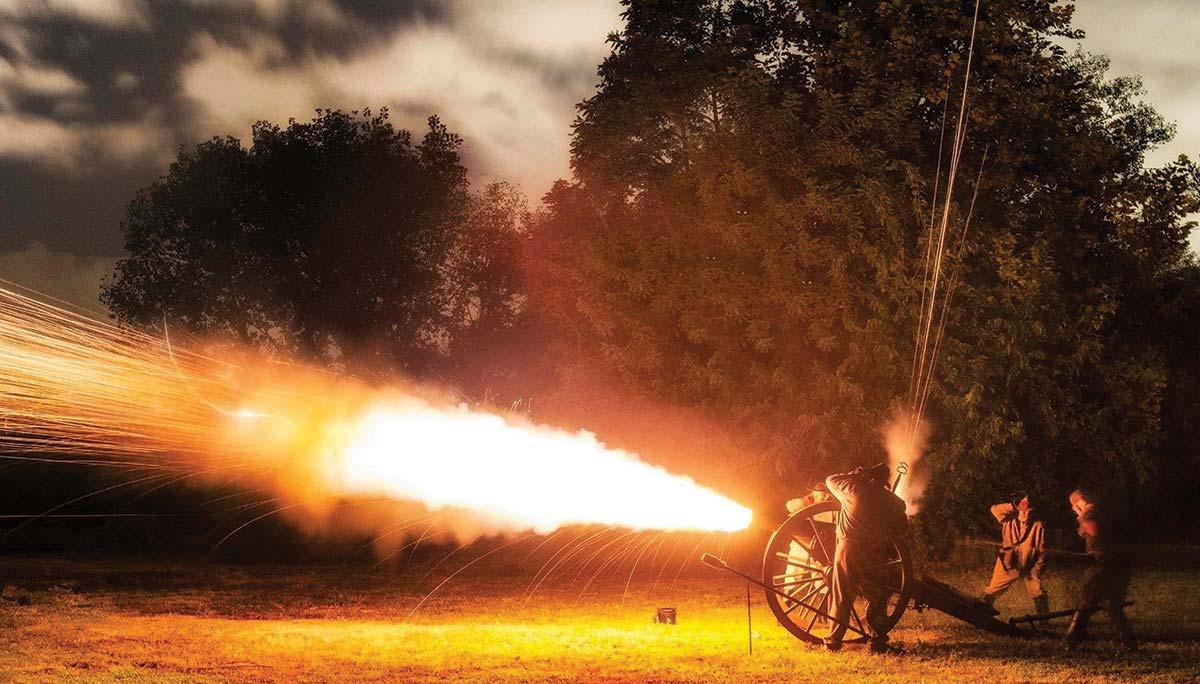 Night firing at Fort Johnson on James Island, SC, 2009.