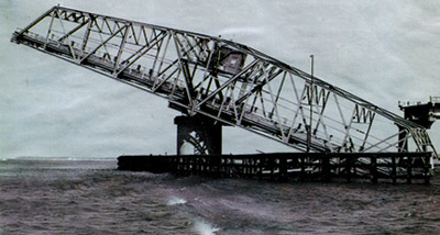 Ben Sawyer Bridge right after Hurricane Hugo