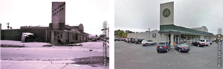 Left: Coleman Center right af ter Hurricane Hugo. Right: Coleman Center, now GDC, today.