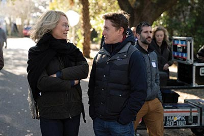 "Jamie Lee Curtis and David Gordon Green on the set of ""Halloween."""