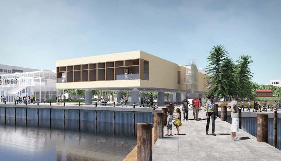 Artistic rendering of the International African American Museum, opening in 2021.