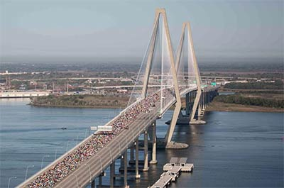 Runners on the Arthur Ravenel Jr. Bridge during the Cooper River Bridge Run