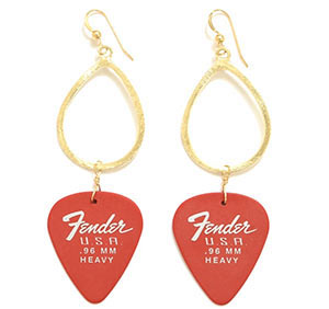 Fender Guitar Pick Earrings come in a range of colors at Hermosa Jewelry