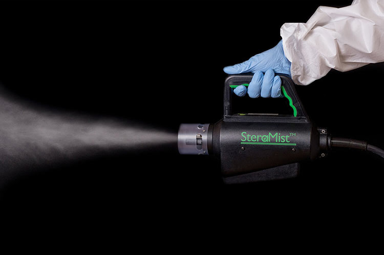 Steramist, a disinfecting fog/mist. Steramist attacks bacteria and pathogens as part of a three-step process.