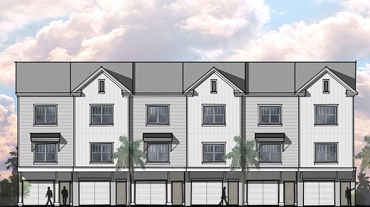 Illustration: proposed new townhome design at Gregorie Ferry Towns.