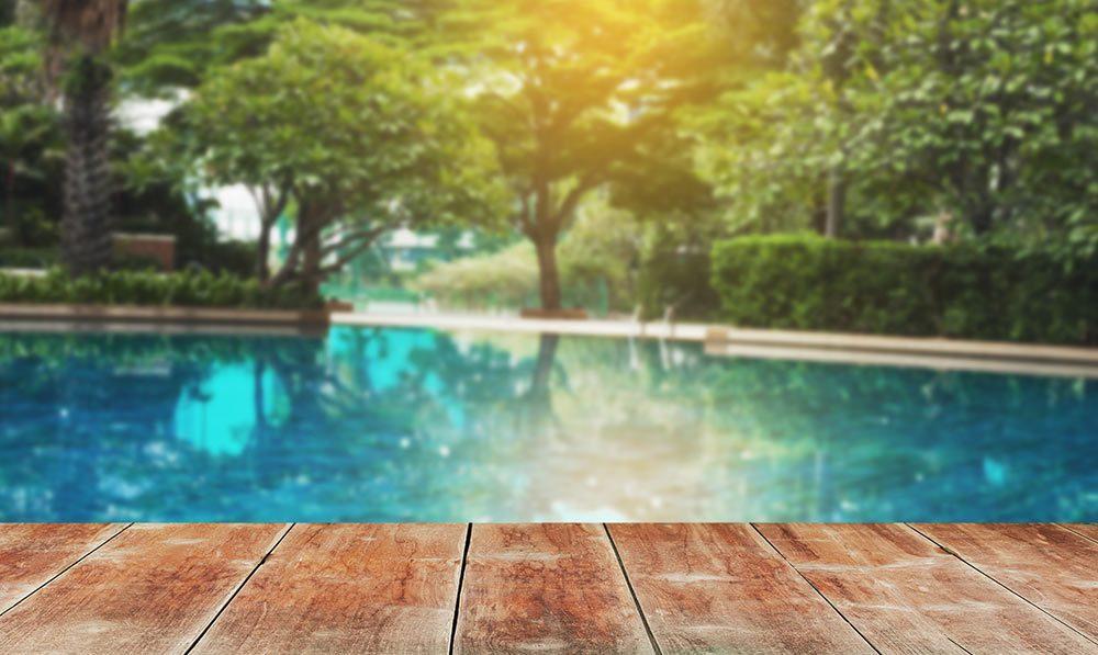 A scenic pool in the backyard
