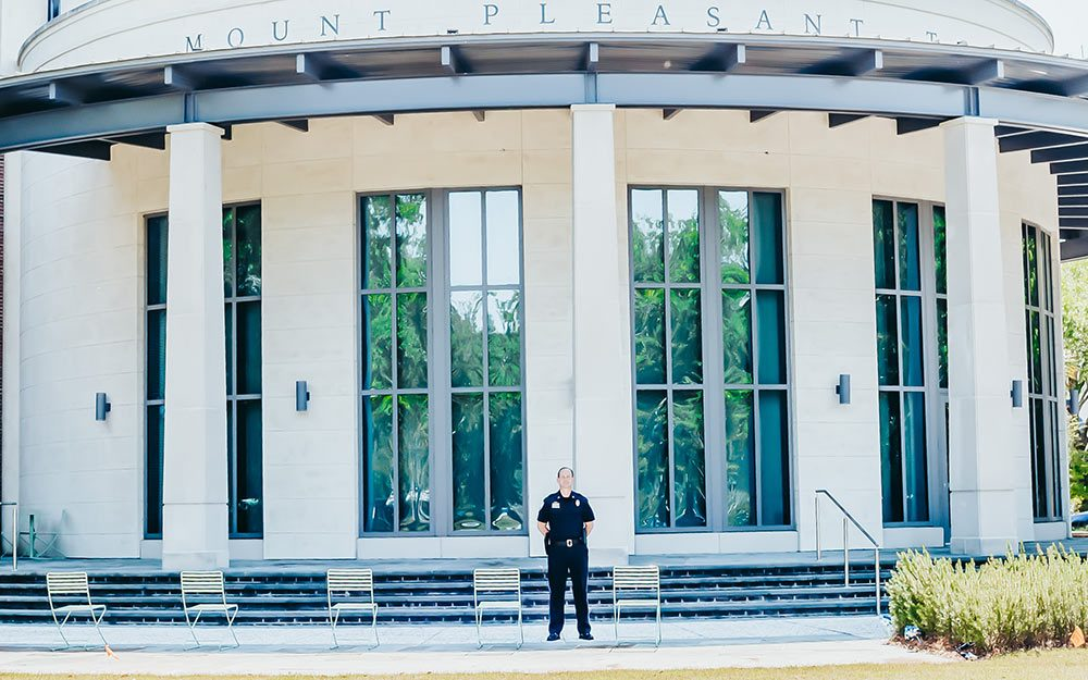 Deputy Chief of Mount Pleasant PD Mark Arnold stands outside of Mount Pleasant, SC Town Hall. Photo by Hungry Ghost Photography.