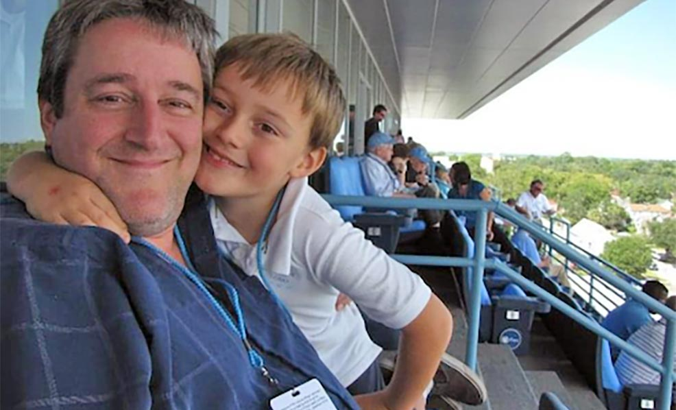 Richard Todd with his son.