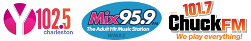Radio Station logos for Y102.5, Mix 95.9 and 101.7 Chuck FM